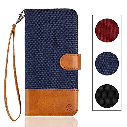 Langlee Schutzhülle für BQ Aquaris V/BQ Aquaris VS, Schutzhülle aus PU-Leder, Tasche, Fächer für Karten & Münzen, Magnetverschluss, Handschlaufe