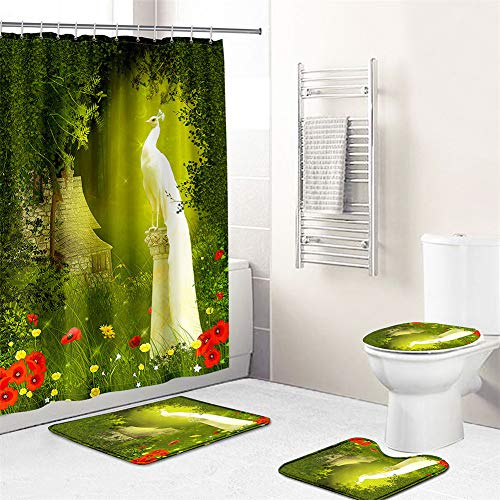 Enhome Badteppich Duschvorhang 4 Teilig, 3D Drucken Badvorleger Badezimmermatten Set mit Badematte, WC-Deckelbezug, rutschfeste Sockelteppich & Duschvorhang (50x80cm,Edler Pfau)
