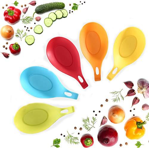 YFOX - Supporto per cucchiaio da cucina, in silicone, a forma di mandorle flessibile, per piano di lavoro, per cucchiai da cucina antiaderenti, 5 cucchiai colorati (confezione da 5)