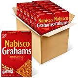 Twelve 14.4 oz boxes of Nabisco Original Grahams Made with a classic graham flavor Square shaped graham snacks have a crunch in each bite Enjoy as a crunchy snacks or stack with marshmallows and chocolate for yummy s'mores Each 31 g serving contains ...