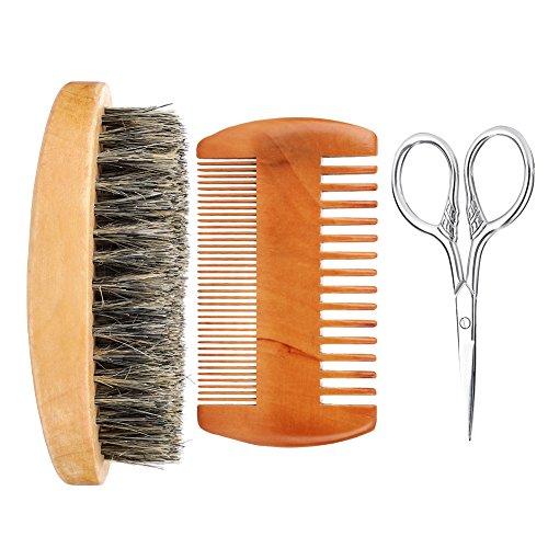 Filfeel Kit de Brosse de Barbe, Hommes Visage Barbe Nettoyage Brosse de Rasage Visage Masseur Groooming Appareil Outil(Beard Kit)