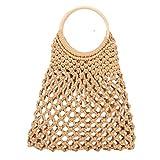 Summer Straw Beach Bag Handmade Cotton Rope Woven Handbags Fishing Net Storage Bag