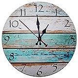 Kurtzy Reloj de Pared de Madera de 30cm - Reloj Manecillas Silenciosas Números...