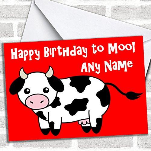 Koe Cartoon Grappige Verjaardagskaart Met Envelop, Kan Volledig Gepersonaliseerd, Verzonden Snel & Gratis