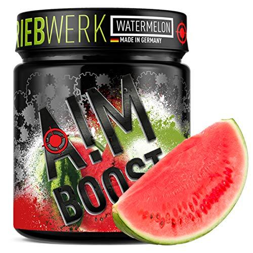 AIM BOOST   Watermelon   Profi Gaming Booster   400g   40 Portionen   23 Wirkstoffe   247mg Koffein + Tyrosin +Theanin   8 Vitamine   wenig Zucker  