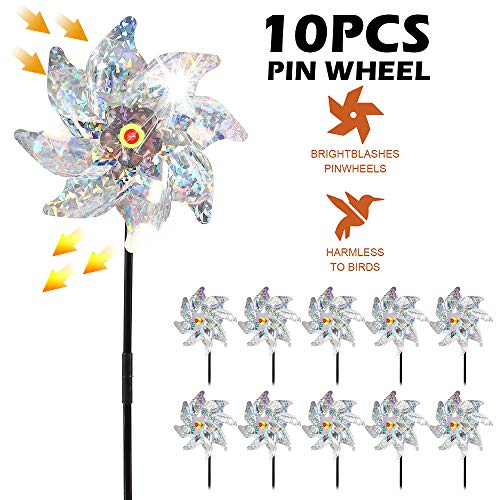jxjarnet Bird Deterrent Repellent Pinwheels, 10pcs Sparkly Holographic Radium radiation Pin Wheel Spinners Scare off Birds and Pests to Protect Garden, Orchard, Farm