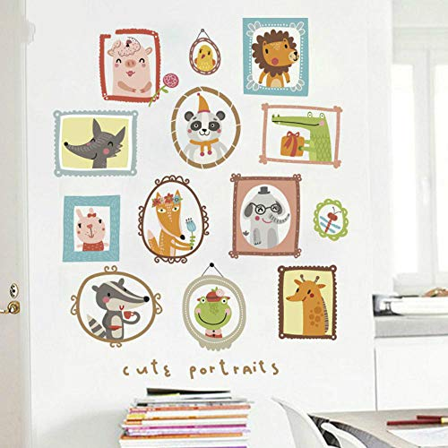 Animal Photo Frame Wall Sticker Cartoon Fox Bear Baby Kids Room Mural Decals Removable Home Nursery Decor Wallpaper