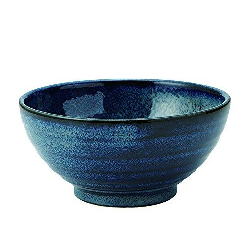 Zen Table Japan Große 1,2 l Ramen Nudeln, Udon, Pasta, Suppe, Donburi, SANUKI Schüssel/Servierschale, japanische marineblaue Farbverformung während des Brennens (Youhen-kon) – hergestellt in Japan