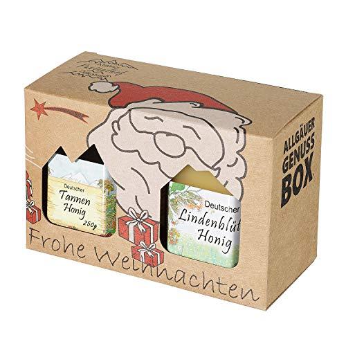 Weihnachts Genuss-Box - Feinkost Geschenk-Set 2 x 250g Deutscher Honig - Honig Delikatessen im Weihnachts-Karton |