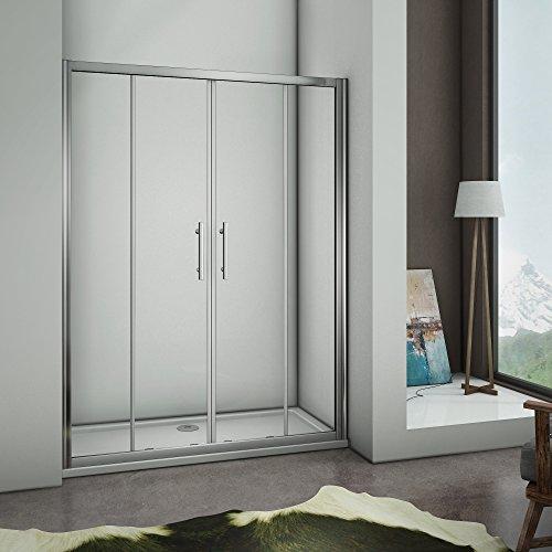 Aica box doccia per nicchia, porta doppia ad apertura scorrevole, composta da 4 ante, cristallo temperato da 5m, 140cm,Altezza:190cm