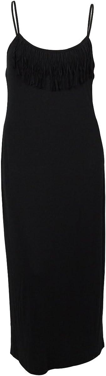 Miken Fringe Sleeveless Maxi Dress Swimsuit Cover Up, Black, Medium