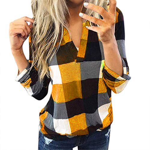 Yowablo Bluse Damen V-Ausschnitt Kariert 3/4 Ärmel Kurzarm Tunika Tops Longshirt Shirt Top Frauen Casual Baumwolle Langarm Plaid Shirt Slim ( L,1Orange )