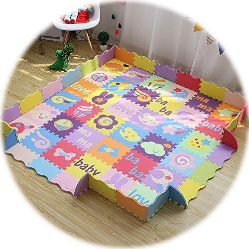 YANGJUN Puzzle Tapis Mousse Bébé Antidérapant Anti-Chute Multicolore Imperméable Charmant Animal Bord Épaissir, 1,4 Cm D'épaisseur 4 Styles (Color : A, Size : 30x30x1.4cm)
