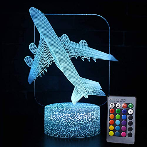 SUNICOL 3D Table Lamp, 16 Changing Colours Battery/USB Powered 3D Rose Night Light with Remote Coontrol for Home Kids Bedroom Loft (Plane)