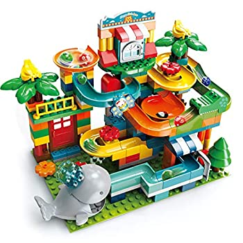 REMOKING Marble Run Building Blocks 2 in 1 Compatible Blocks Models with 8 Marble Balls,Educational Race Track Building Block Set Great Gifts for Kids 3 Years and up(259Pcs)