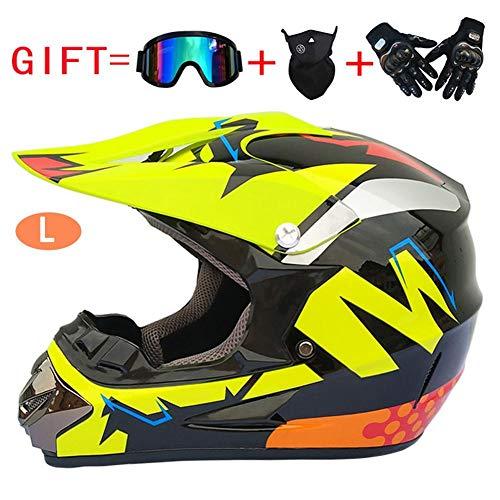 haodene Kinder Jugend EIN Fernseher Offroad Dirt Bike Motocross Helm Ausrüstung Combo Handschuhbrille Unisex Kind DOT