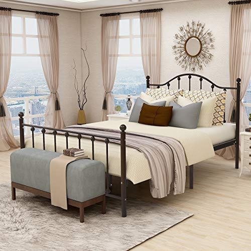 Queen Size Metal Bed Platform Frame with Headboard and...