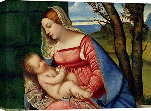 Art Print Cafe - Cuadro - Impresion sobre Lienzo - Tiziano, La Virgen con el Niño - 70x50 cm