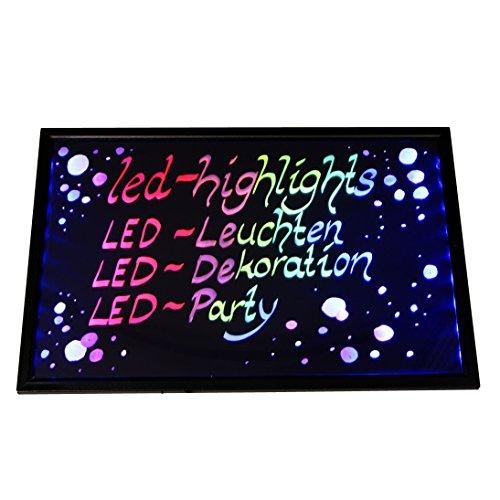 LED-Highlights Werbetafel Led Reklame Tafel 60 x 40 cm Fernbedienung 7 Led Farben Leuchttafel Led Werbeschild 8 Neon Stifte Buchstaben Bunt Beschreibbar Licht Box