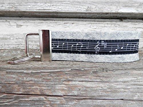 Schlüsselanhänger Schlüsselband Wollfilz hellgrau Noten Musik schwarz Geschenk!