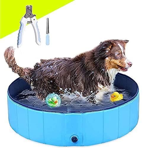 Dog Pool Foldable Paddling Pool for Small Dogs Swimming Pool Portable PVC Non-Slip Bathing Tub Children Pet Puppy Dog Pool