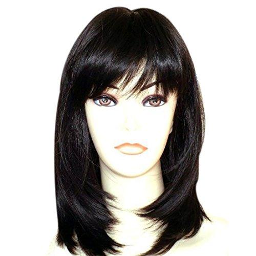 Kalyss weibliche Perücke lange gerade geschichte schwarze Perücke Haar für Frauen(Schwarz 1B)