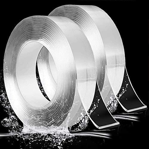 Evance 2pcs Nano Nastro Biadesivo Trasparente, Multifunzione Riutilizzabile Nastro Biadesivo Senza Tracce, Extra Forte Nano Nastro Adesivo, Rimovibile Lavabile Nano Tape (10FT)