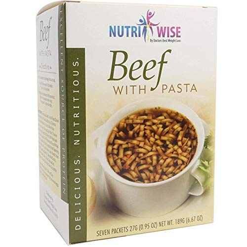 NutriWise - Beef with Pasta Soup | Healthy Nutritious Diet Foods | High Protein, Low Calorie, Fat Free (7 Count)