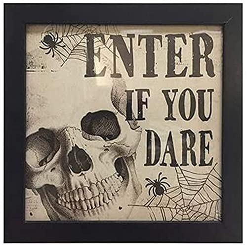 Skull Halloween Sign | 8 X 8 inch | Enter If You Dare | by Happy Deals~