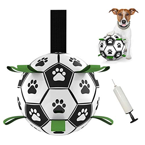 TIRTI Grab Tabs Dog Soccer Ball, Interactive Dog Toys for Tug of War, Fun Dog Tug Toy, Dog Water Toy, Pet Dog Balls for Small & Medium Dogs