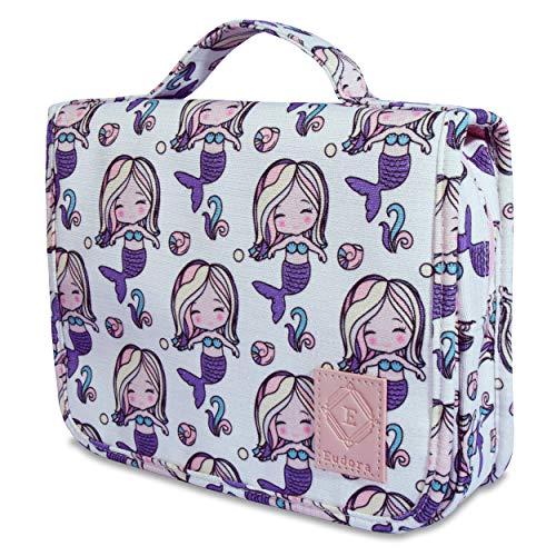 Eudora Hanging Travel Toiletry Bag for Women and Girls, Teenage Waterproof Bathroom Bag, Cute Glitter Mermaid Shower Cosmetic Bag with Large Capacity and 360 Rotatable Hook (Pink)
