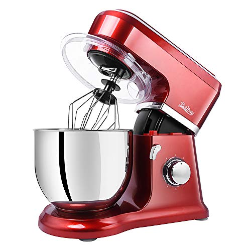 Betitay Kitchen Dough Mixer, Cake Mixer with 6-Speed + Pulse Control, Multi-Purpose Parts Mixing Beater/Dough Hook/Whisk/Silicone Brush/Splash Guard, Stainless Steel Bowl(Red/Steel)