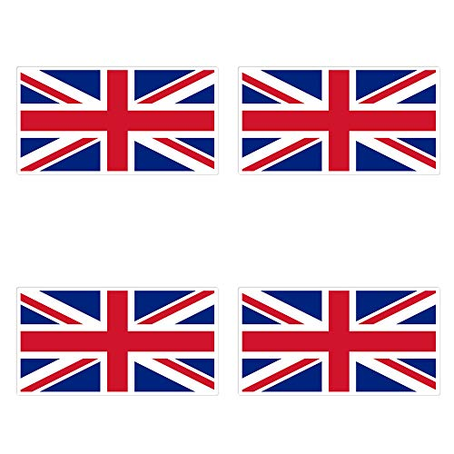 dealzEpic - UK Flag/Union Jack - Self Adhesive Peel and Stick Vinyl Decal/Car Bumper Sticker - 3.94 x 2.13 inches | Pack of 4 Pcs