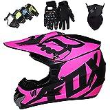 WAHA Casco Motocross Niño(3Pcs),ECE Homologado Casco Moto Integral Unisex,(Gafas+Máscara+Guantes) Casco de Bicicleta de montaña,con Diseño Fox,(3 Colores),Púrpura,XL