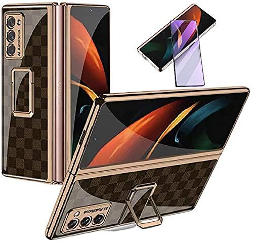 XJZ Kompatibel mit Samsung Galaxy Z Fold 2-5G Smartphone Hülle(2020)+3D Panzerglas/Handyhülle 360 Grad Vollschutz Case Ultra Dünne Bumper Stoßfeste TPU Rahmen Schutzhülle mit Ständer-16