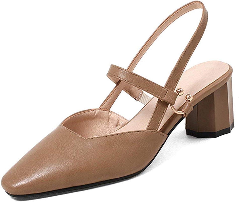 Ghapwe Women's Cute Square Toe Block Mid Heels Elastic Strap Sandals Black 8 M US