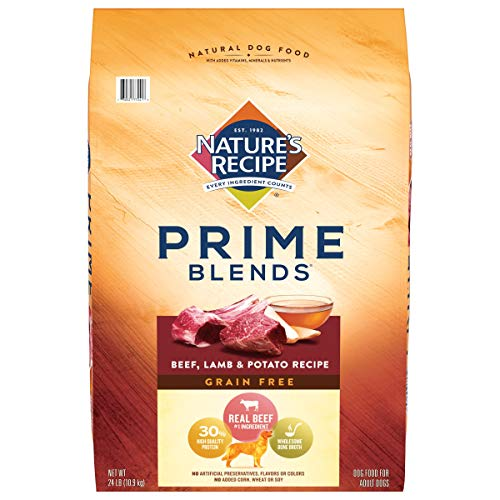 Nature's Recipe Prime Blends Dry Dog Food, Beef, Lamb & Potato Recipe, 24 Pound Bag,  Grain Free