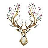 WandSticker4U®- XL Wandtattoo HIRSCHGEWEIH mit Blumen und