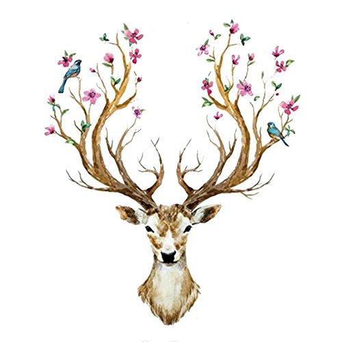 WandSticker4U®- XL Wandtattoo HIRSCH Kopf mit Blumen und Vögeln I Wandbilder: 97x81cm I Wandsticker Rentier Geweih Wald-tiere Reh I Wand Deko für Wohnzimmer Schlafzimmer Küche Flur