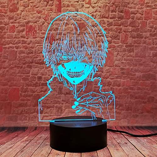 Kaneki Ken 3D Illusion Led Anime Lámpara 16 Colores Control Remoto Tokyo Ghoul Dormitorio Luz De Noche