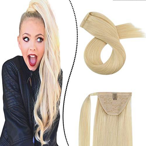 Haarverlangerung Echthaar Pferdeschwanz Clip-in Pony Haarteil Remy Brasilianer Menschliches Haar Unsichtbar Ponytail Extension Gebleichtes Blond 35cm/60g