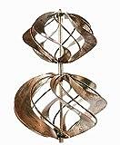 Doppel-Windrad mit 2 Spiralen aus Metall Kupfer-Look Gartendeko Windspiel Gartenstecker Kupfer-Look H80cm