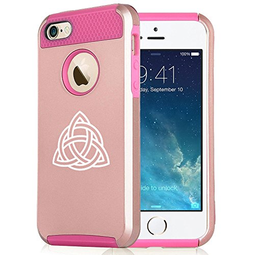 for Apple iPhone 6 Plus 6s Plus Rose Gold Shockproof Impact Hard Soft Case Cover Triquetra Symbol Celtic Knot (Rose Gold-Hot Pink)
