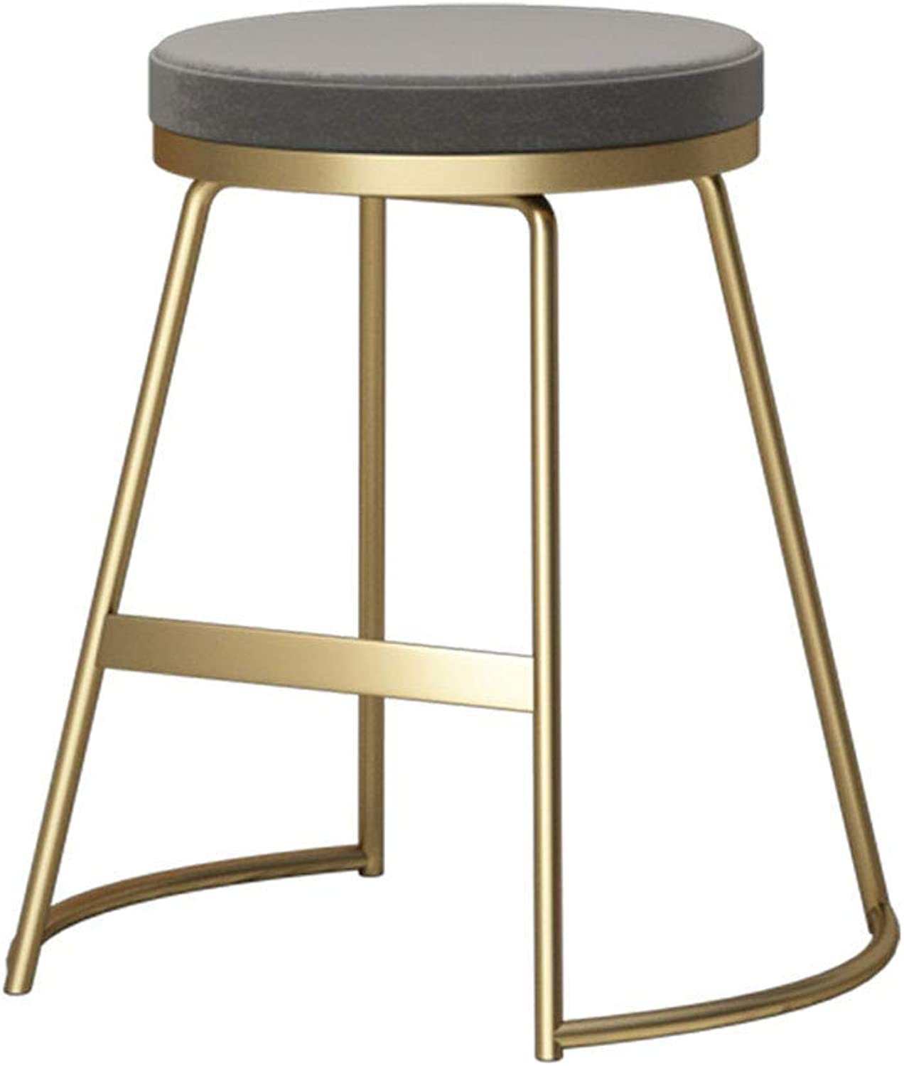 Nordic Iron Barstool,Simple Bar Stool Modern Romantic Makeup Dressing Tall Stool with PU Seat for Bar Kitchen Pub Breakfast Dining,gold (45cm)