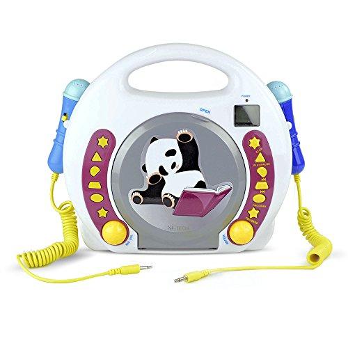 X4-TECH Bobby Joey Panda - Kinder CD-Player MP3 Karaoke Hörbuch - 2 Mikrofone