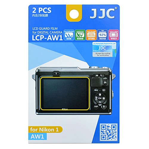 JJC LCP-AW1 Ultra Hard Polycarbonate LCD Film Screen Protector for Nikon 1 AW1(2 Kits)