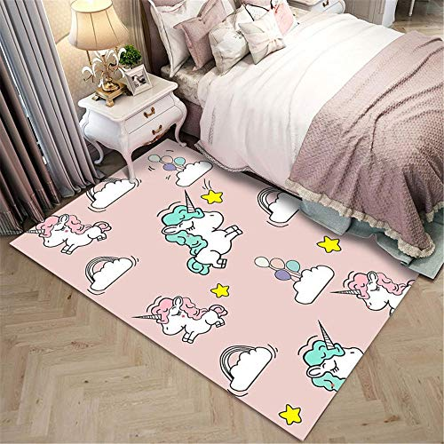 KIKCY Nordic cartoon 3D unicorn printed carpet, used in the living room and bedroom area. Soft children's play mat/carpet-60x90cm_IGZ-09