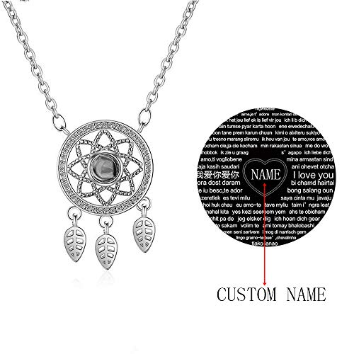Zhaolian888 Te Amo 100 Idiomas Collar Colgante de Atrapasuenos de Oro Rosa de Plata Esterlina Joyeria de Memoria de Amor Regalo Personalizado con Cualquier Nombre