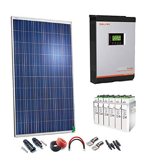 Kit Solar 24v 2000w/10000w día Batería 5TOPzS 812Ah Inversor Multifunción 5kva Regulador MPPT 80A