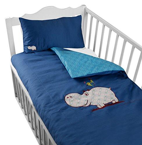 ToTs by Smartrike 280-201 beddengoedset Joy, 100% katoen satijn, dekbedovertrek 100 x 135 cm en 1 kussensloop 60 x 40 cm, hippo blauw